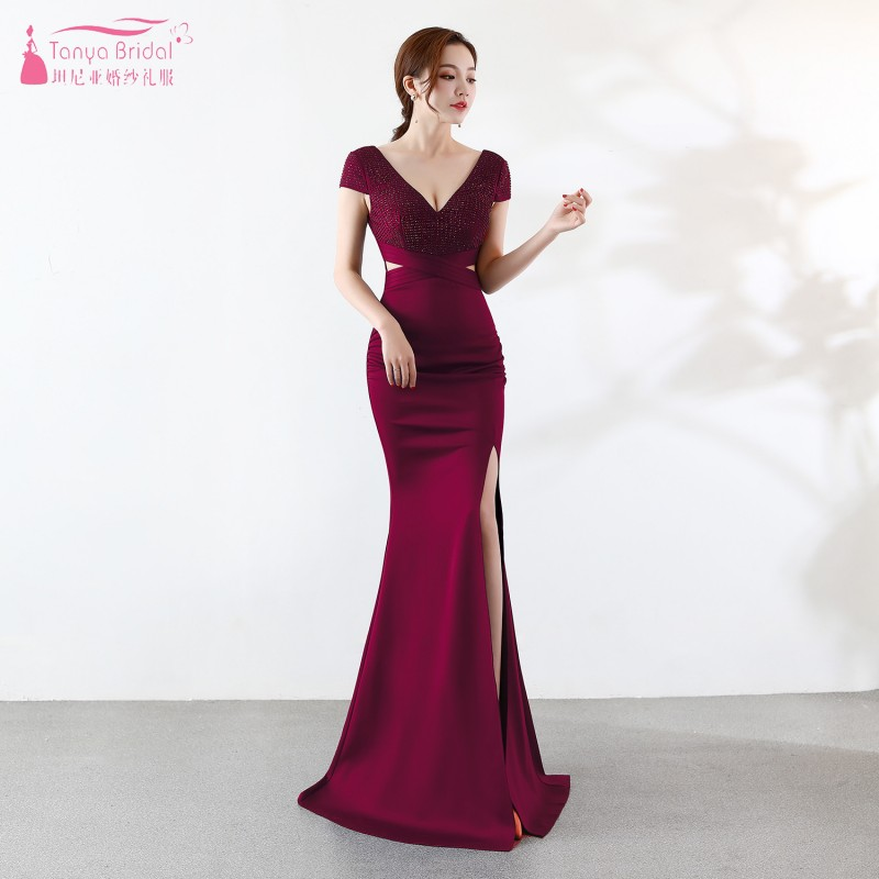 Cap Sleeve   Bridesmaid     Dresses   Mermaid Burgundy Long Side Slit Wedding Guest Party   Dress   Formal Gown For Women JQ68