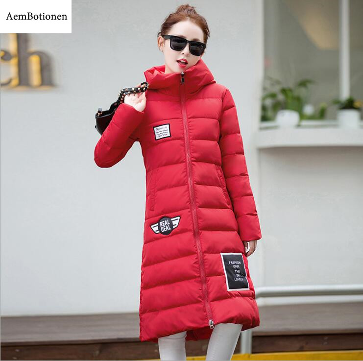 2016 New Plus Size Winter Wadded Jacket Women Thick Warm Hooded Long Down Cotton-padded Jacket Parka Slim Winter Coat 2016 new winter warm wadded coat women slim hooded down parka ladies plus size thick cotton padded jacket women outerwear kl0471