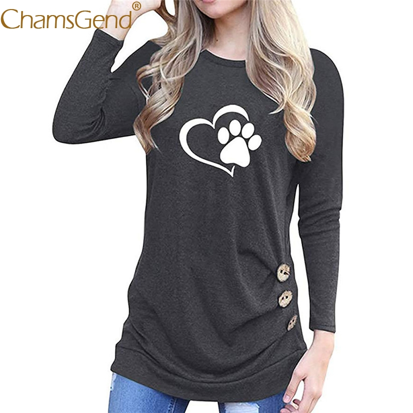 637e57b3 Free Shipping Women Long Sleeve Shirt Paw Printing Casual Round Neck ...