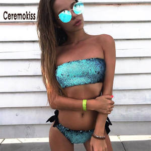 DRESSMECB High Waisted Bottom Sexy Swimsuit Summer Sequin Paillettes Bikini Set