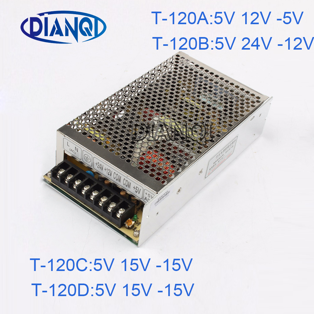 DIANQI -15V Triple output Switching power supply 120w 5V 12V -5V power suply T-120 ac dc converter -12V -5V 24V 100w triple output switching power supply 5v 12v 12v 3a 1a 0 5a power suply t 100b high quality ac dc converter
