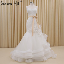 White Tiered Mermaid Tulle font b Wedding b font Dresses Sexy Sleeveless Simple Fashion font b