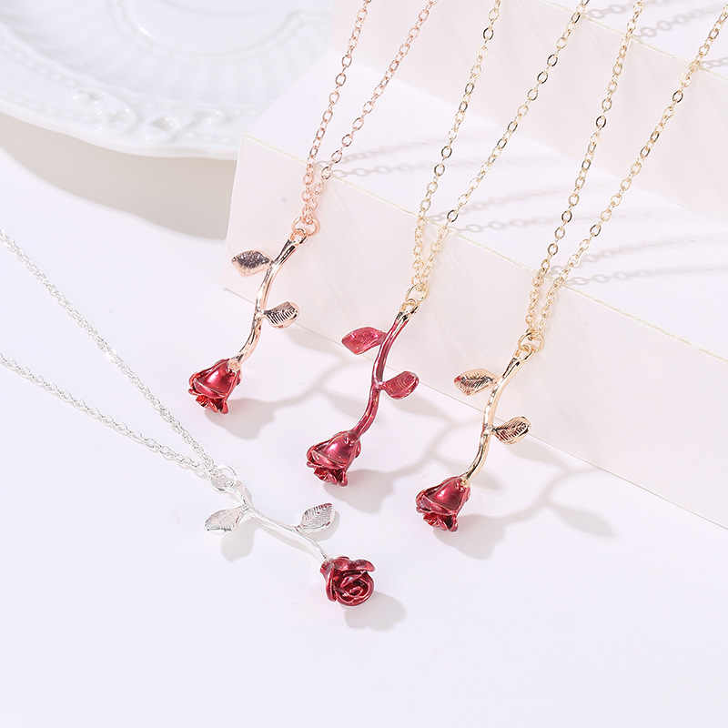 Delicate Rose Necklace & Pendants Flower Best Friends Vintage Charm Cute Women Jewelry necklace