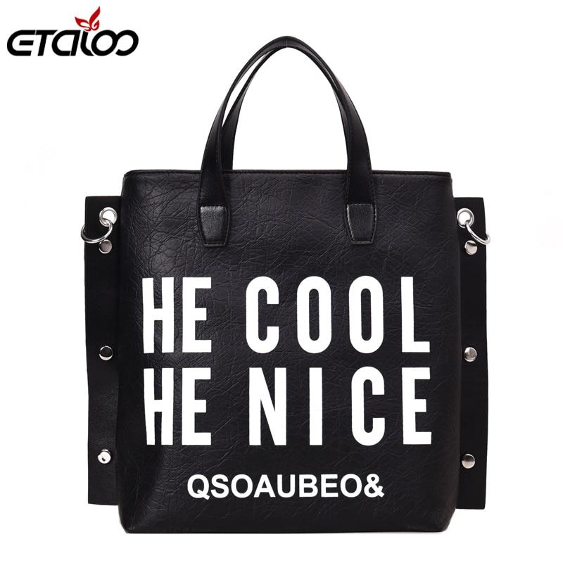 Fashion Handbag Women Letter Soft Messenger Female Shoulder Bags Large Shopping Tote Lady Crossbody Bag Purse