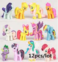 12 pièces/ensemble 3-5 cm mon mignon pvc joli petit ponis cheval poney action jouet figurines poupées pour fille anniversaire cadeau de noël