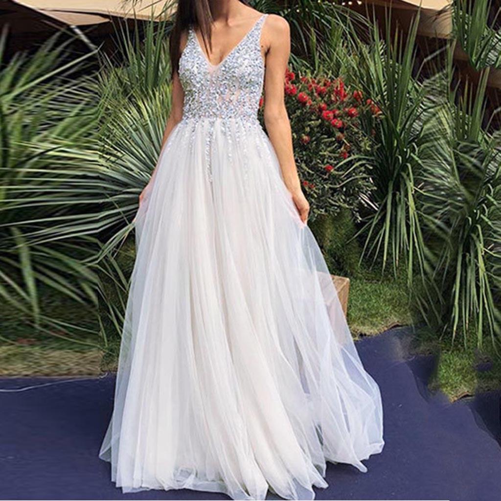 Для женщин платье без рукавов с v-образным вырезом, напольный, Свадебный зимнее платье сексуальное элегантное, праздничное, вечернее облега...