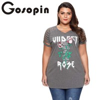 Gosopin Plus Size Rose Letter Print T Shirt Women Summer Casual V Neck TShirt Gray Sexy