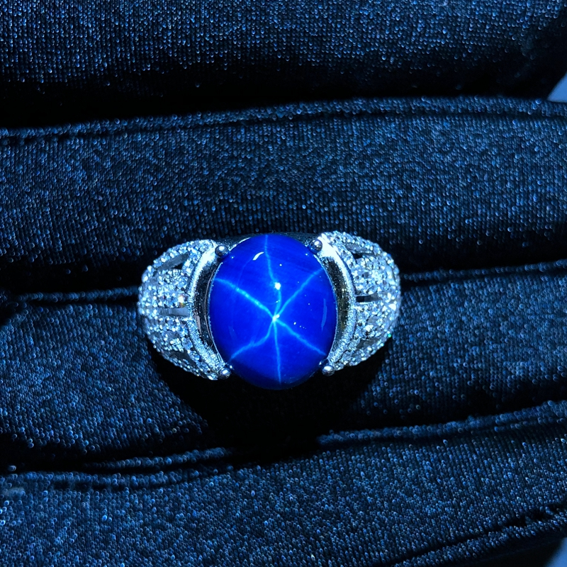 Starlight Sapphire Ring, Classic 925 Pure Silver Star Line Beautiful Mail Packing-in Rings from Jewelry & Accessories    2
