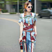 High Street Fashion Runway Set 2017 Summer Style Women's Short Sleeve Print Top and Pants Set XL Size Two Piece Clothes Set