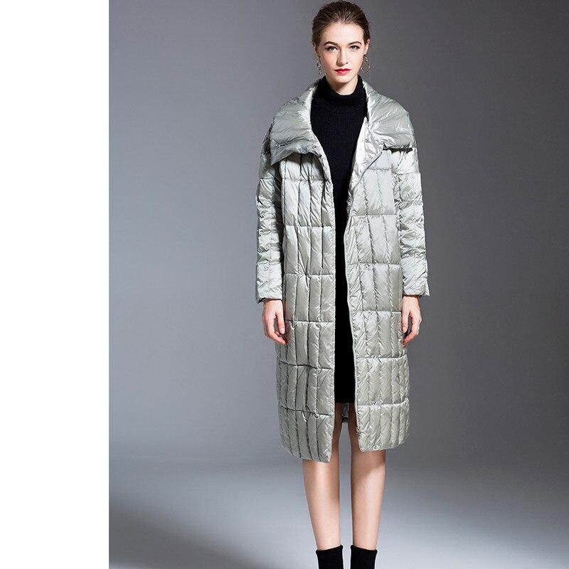 Noir Hiver Mode Européen Taille Manteau Grande Style De Qualité argent Lâche 2018 Femmes Long Haute Piste qT6xEqB