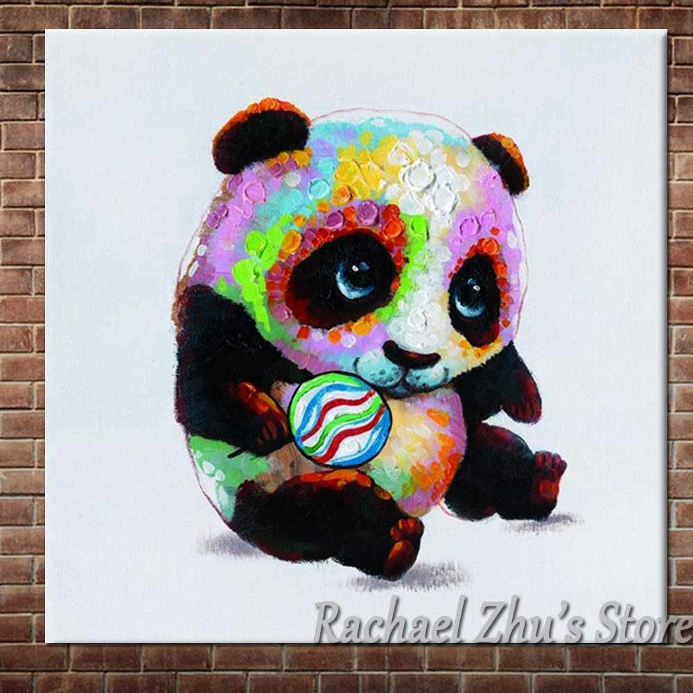 Hand Painted Lovely Cartoon Art Panada Oil Painting On Canvas Panada Play Ball Picture Childrens Room Wall Decor Christmas Gift