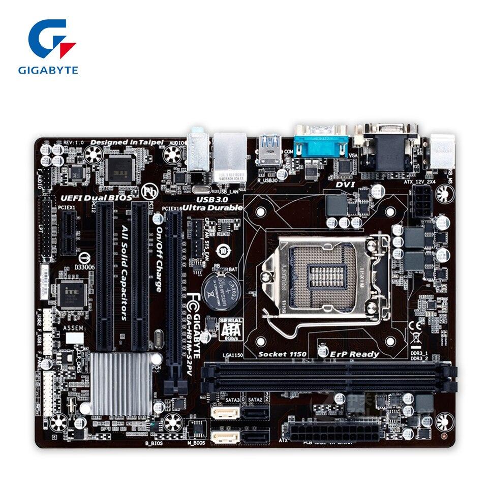 Gigabyte GA-H81M-S2PV Original Used Desktop Motherboard H81M-S2PV H81 LGA 1150 i3 i5 i7 DDR3 16G Micro-ATX gigabyte ga h81m s2pv rev 1 0