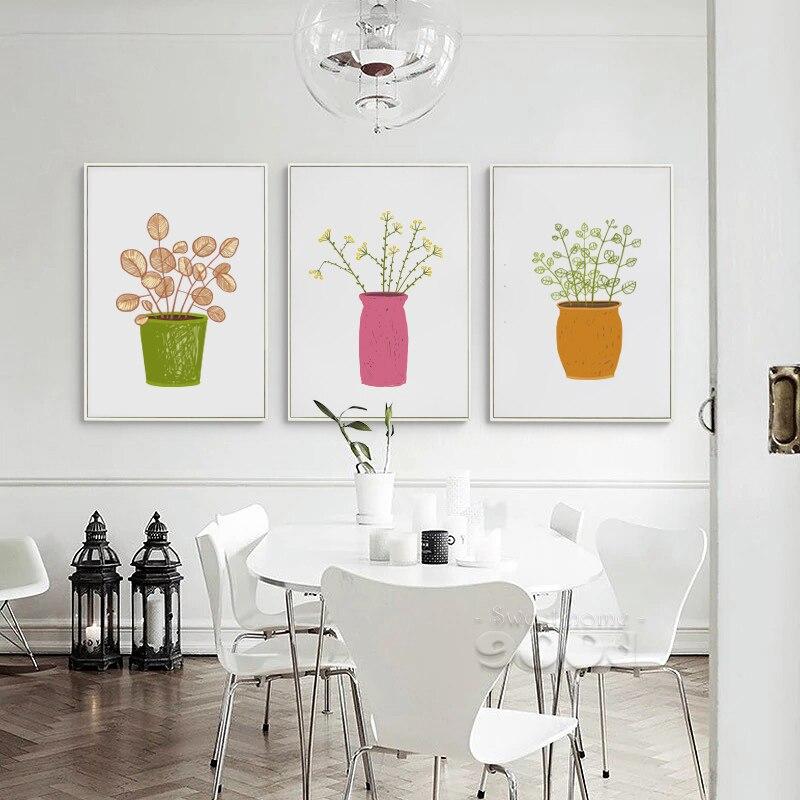 Pot Plant Canvas Umělecká reprodukce Malba Plakát, Obrazy na zeď pro domácí dekorace, Digitálně vytištěná reprodukce na zeď S16025