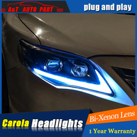 Car Styling For toyota corolla headlight assembly For corolla LED head lamp Angel eye led front light h7 with hid kit 2pcs.
