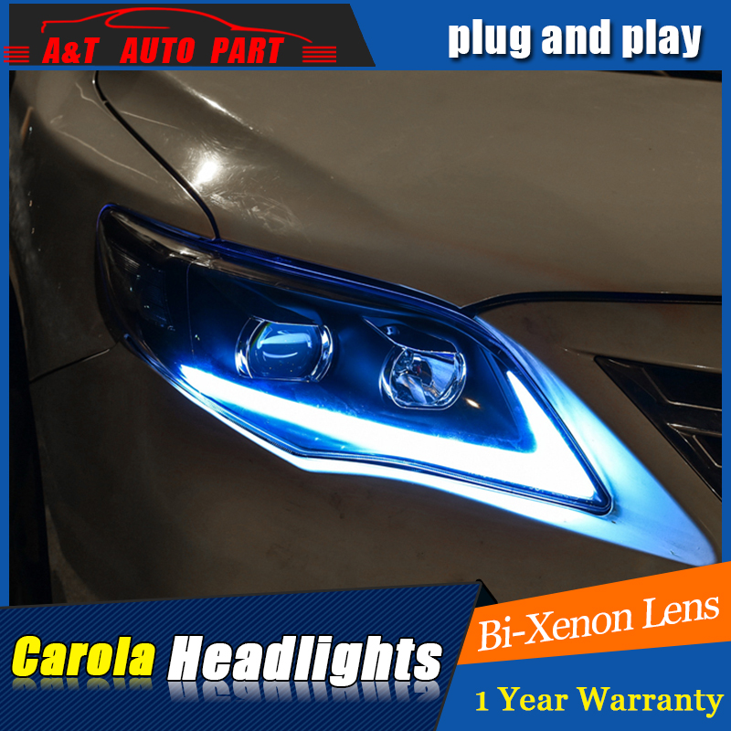 Car Styling For toyota corolla headlight assembly For corolla LED head lamp Angel eye led front light h7 with hid kit 2pcs. rockeybright 1set all in one n1 h7 led headlight fog head lamp kit with 2pcs h7 led adapter for the new jetta for the new bora