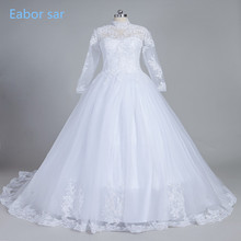 2017 Romantic White/Ivory High Neck Lace Wedding Dresses With Long Sleeves Ball Gown Wedding Gown Sheer Back Vestido De Noiva