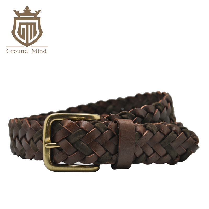 Braided Leather Men's Belt Hand Knitted Genuine Leather With Brass Pin Buckle Casual Style Woven Tanned Cowhide