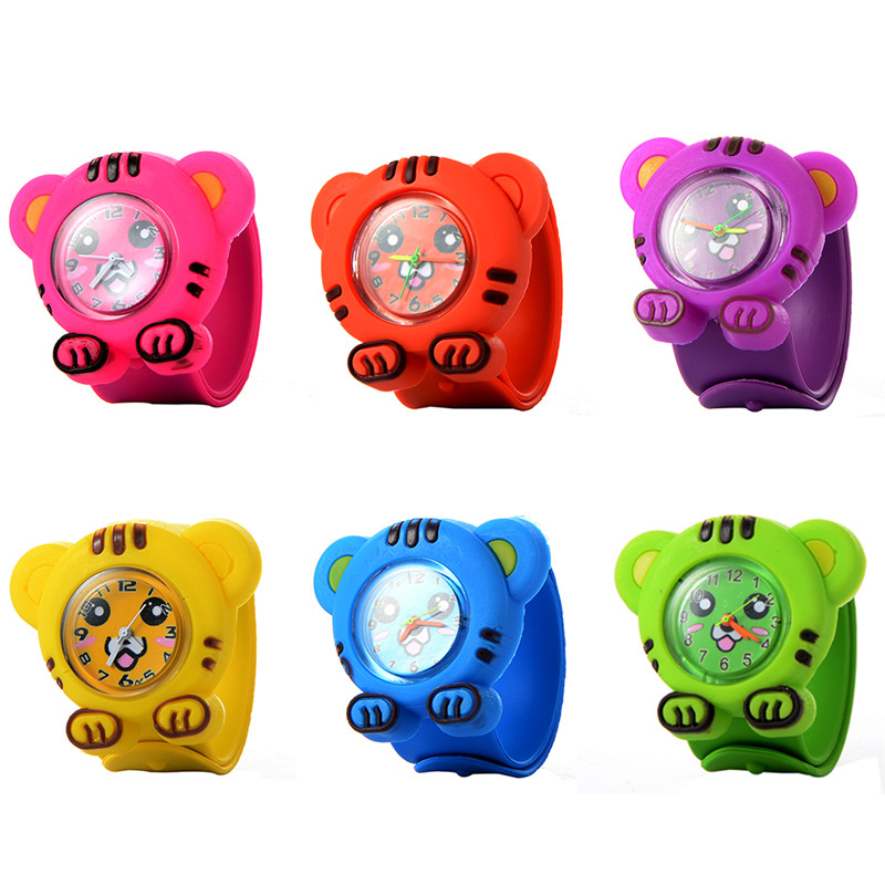 Kids Watch 3D Creative Slap Cartoon Silicen Quartz Wristwatches Children Tiger Sport Pat Circle Watches Cute Baby Clock Gifts