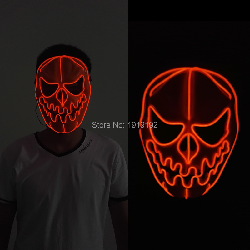 40 Kind EL Wire Sound Active Halloween Ghost Mask LED Neon Sparkling <font><b>light</b></font> Mask For Christmas Wedding Birthday Party Decoration