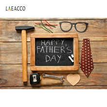 Laeacco Happy Fathers Day Wood Blackboard Backdrop Photocall Photography Background Customized Backdrops For Photo Studio