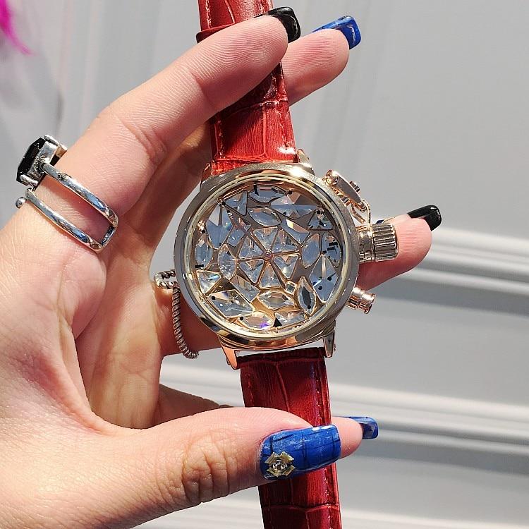 Hot Luxury Brand Ladies Diamond Quartz Watch Fashion Crystal Women Casual Watches Leather Clock Female Wristwatch Reloj Mujer