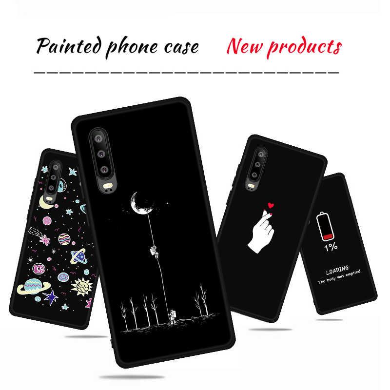 Étui pour Huawei P30 Pro P30 motif lune en Silicone coque d'art noir amour Funda pour Huawei Honor 8X Max 8C 8A Note 10 9 Lite coques