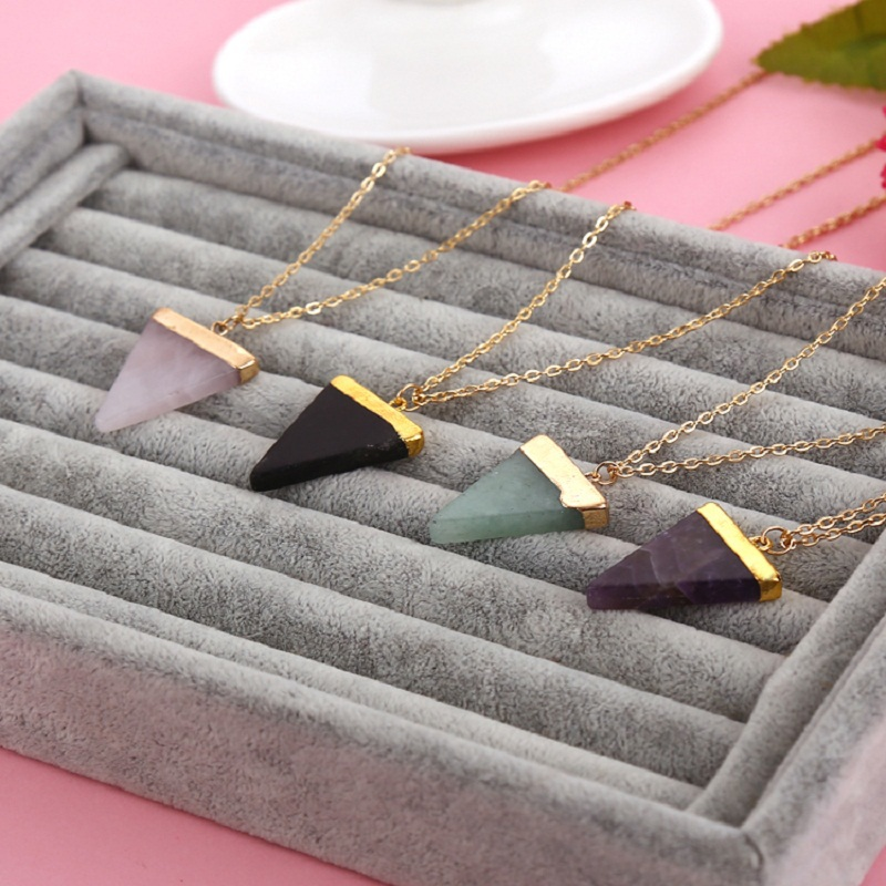 Geometric Pesionality Colorful Nature Stone Necklace Triangle Crystal Necklaces Gems Stones Pendant For Women And Men Wholesale