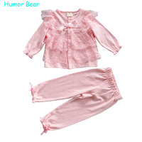 Humor Bear Christmas Baby Girls Clothing Sets Lace Long Sleeve Pant Clothes Set Kids Body Casual
