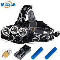 CREE 3XML T6 White 2XPE Blue LED Headlamp Headlight 5 Mode Adjustable 18650 Rechargeable Battery Head