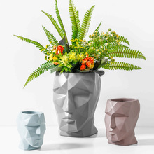 2019 Brand New Creative Face Shape Ceramic Flower Vase Pot Dried Vases Home Office Decoration Accessories Gift
