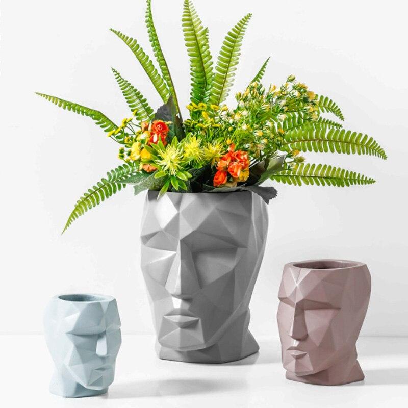 2019 tout nouveau créatif visage forme en céramique fleur Vase fleur Pot séché fleur Vases maison bureau décoration accessoires cadeau