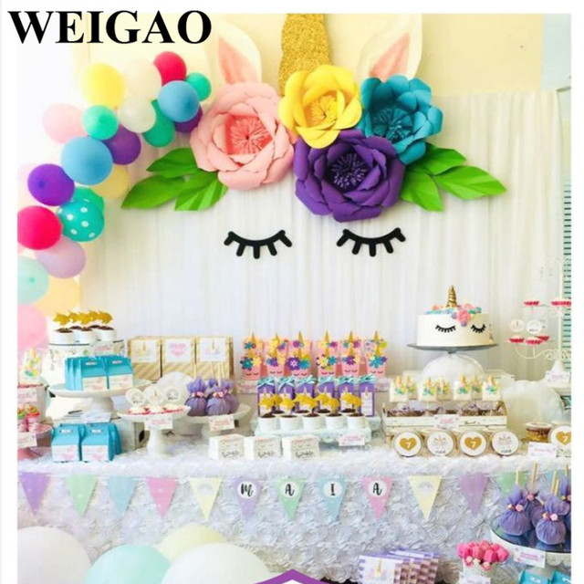 Weigao Diy 30cm Paper Flowers With Disposable Tableware For Unicorn