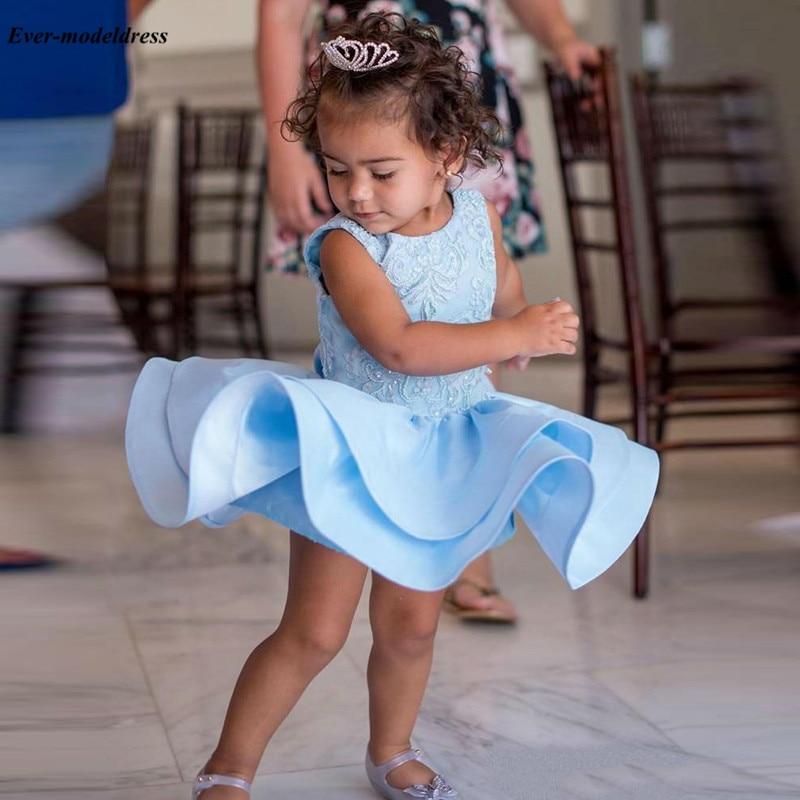 Lovely Short Light Sky Blue   Flower     Girl     Dresses   For Weddings Mini Bow Appliques   Girls   Pageant   Dress