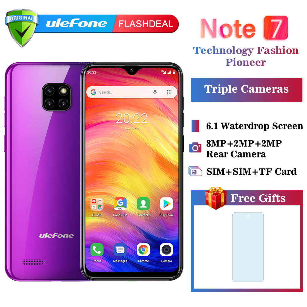 Ulefone Note 7 Smartphone 3500mAh 19:9 Quad Core 6.1inch Waterdrop Screen 16GB ROM Mobile phone WCDMA Cellphone Android8.1 titanium ring