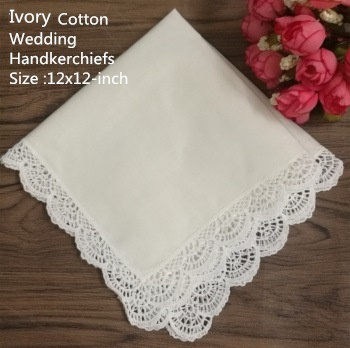 Set Of 12 Fashion Wedding Bridal Handkerchiefs Ivory Cotton Hankie With Embroidery White Crochet Lace Edges Ladies Hanky 12
