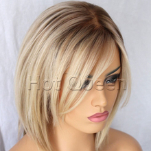 Cheap Short Brazilian Bob Style Blonde Ombre Lace Front Human Hair Wigs  Silky Straight Remy Glueless Full Lace Wigs