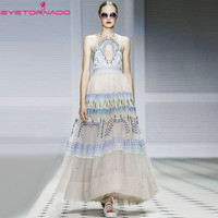 Sexy Halter Flower Embroidery Backless Ball Gown Mesh Dress Women Vintage Party Ball Formal Dress Casual
