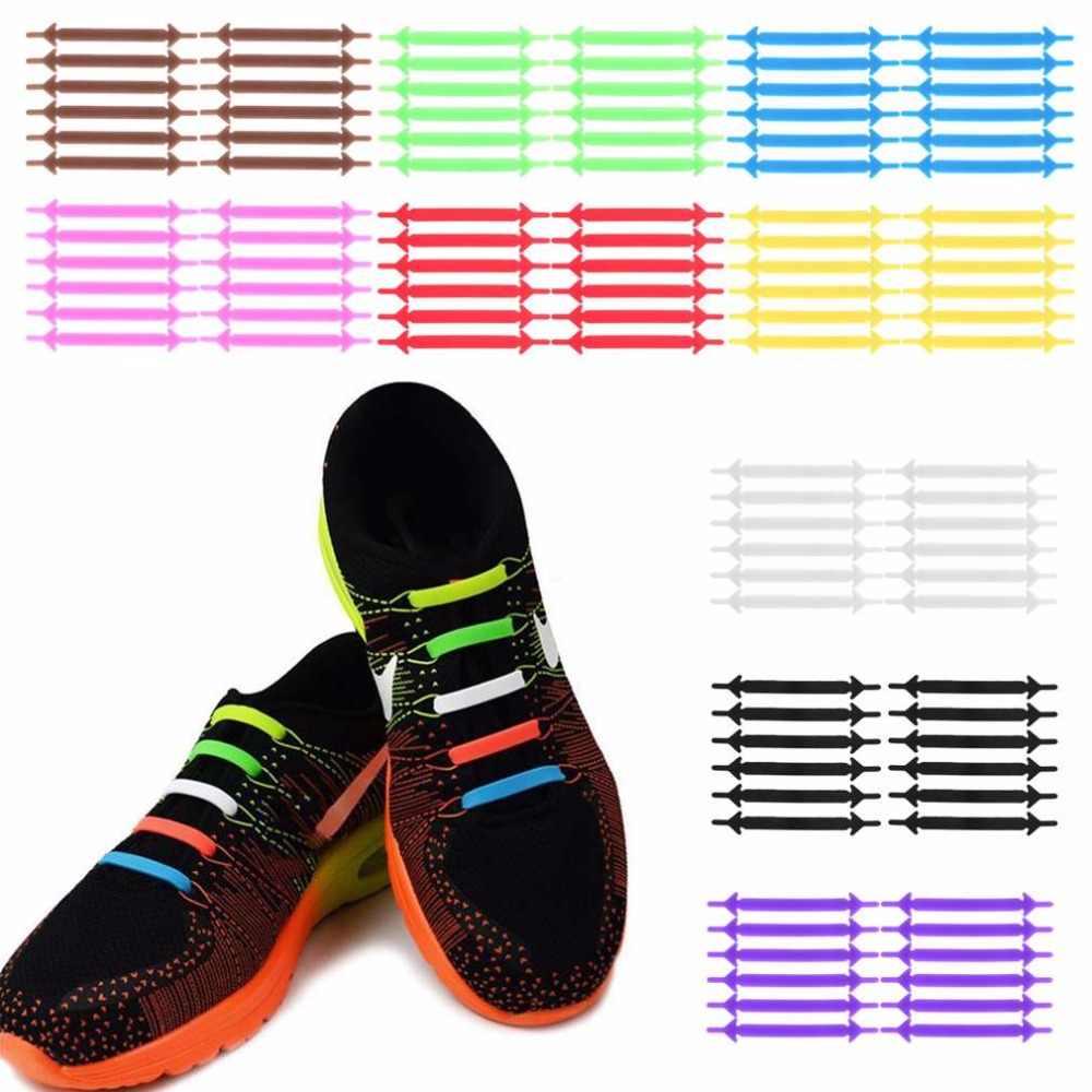 12 adet/takım yaratıcı ayakkabı bağı Unisex kadın erkek atletik koşu hiçbir kravat ayakabı elastik silikon ayakkabı dantel tüm Sneakers 9 renkler