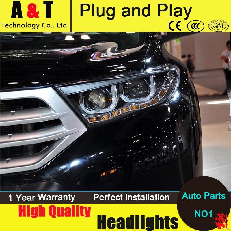 Car Styling LED Head Lamp For Toyota Highlander Led Headlights 2012 2014 Signal Led Drl H7