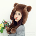 new arrival winter fashion faux fur hat women female cartoon cute bear ears warm hats lovely super gorgeous bomber hats lady