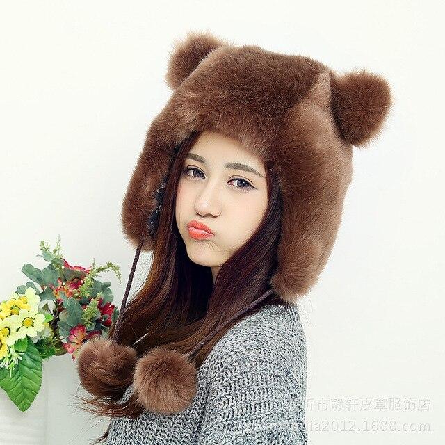 new arrival winter fashion faux fur hat women female cartoon cute bear ears warm hats lovely super gorgeous bomber hats lady
