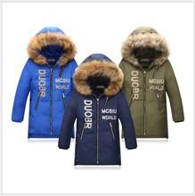 Boys Winter Coats 2017 Woollen Collar Children Down Jackets  Hooded Kids Jacket Teenager Boys Parka Long Girls Outerwear 10 Y