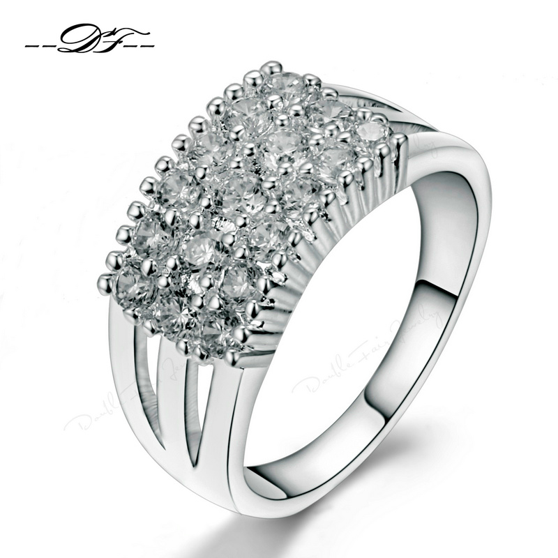 Top Quality Silver Color Bijoux Fashion Wedding&Engagement Ring with AAA+ Cubic Zirconia Jewelry For Women Wholesale DFR517