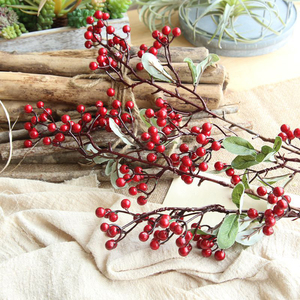 Image 2 - Artificial Flowers For Decoration Red Bird Berry Spray Stem Of Faux Berries Autumn/Christmas Fake Flowers Fall Decoration Home