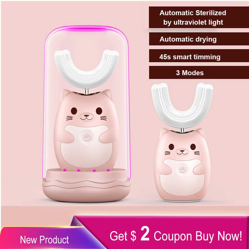 Escova de dentes elétrica infantil, recarregável, sônica, automática, de 360 graus, de silicone macia, ultra sônica