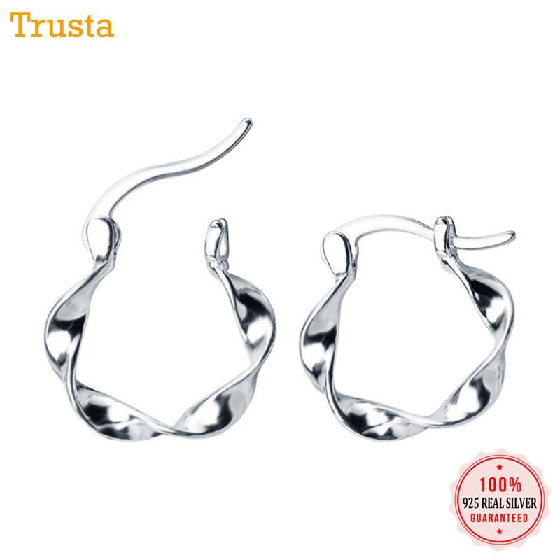 Trustdavis 100% 925 Solide Sterling Silber Hoop Geometrische Wellen Hoop Ohrringe Für Frauen Piercing Mode Ohrringe Schmuck Da78 Exquisite Traditionelle Stickkunst