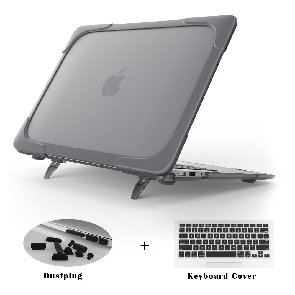 все цены на  New Shockproof Outer Case For Macbook Air 11 12 13 inch Pro 13 Retina Hard Plastic Cover with Foldable Stand A1466 A1369 A1502  онлайн
