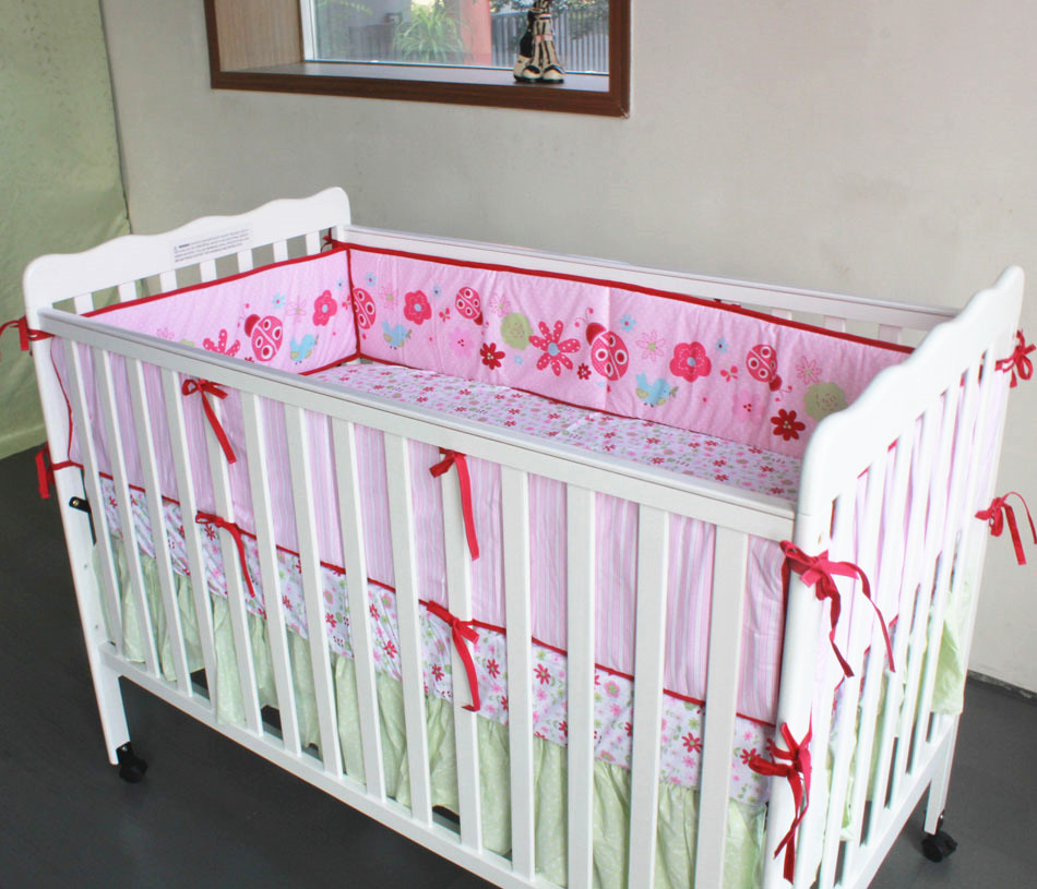 Promotion! 4pcs Embroidery baby bedding set crib baby cot sets baby bed bumper,include (bumpers+duvet+bed cover+bed skirt)