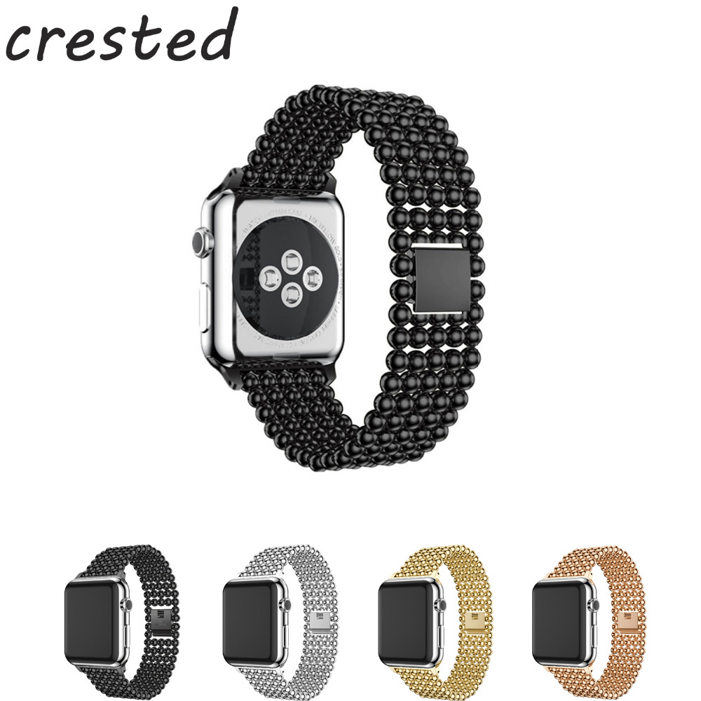 CRESTED Stainless steel ball watch strap For Apple Watch Band 42mm 38mm metal bracelet wrist watchband for iwatch 3/2/1 crested nylon band strap for apple watch band 3 42mm 38mm survival rope wrist bracelet watch strap for apple iwatch 3 2 1 black