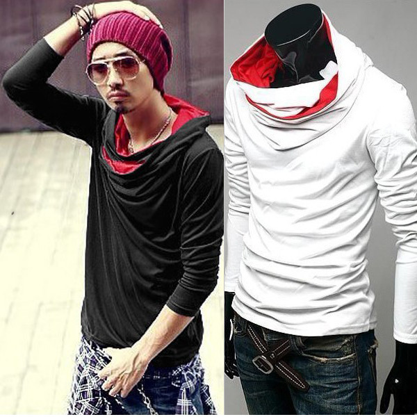 Hot Sale 2016 Fashion Mens Outwear Cowl Neck Sport Hoodie Long ...